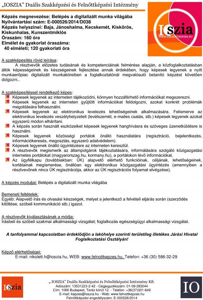 Belépés a digitalizált munka világába - Baja - Jánoshalma - Kecskemét - Kiskőrös - Kiskunhalas - Kunszentmiklós - felnottkepzes.hu - Felnőttképzés - IOSZIA