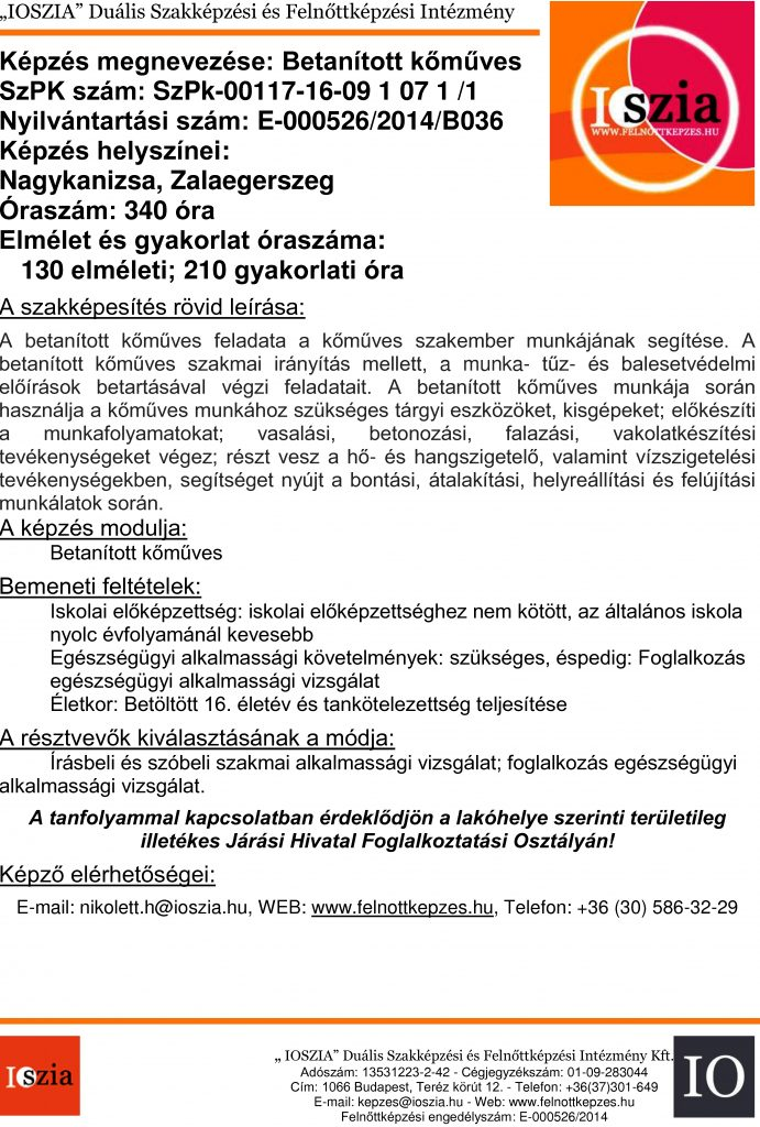 Betanított kőműves - Nagykanizsa - Zalaegerszeg - felnottkepzes.hu - Felnőttképzés - IOSZIA