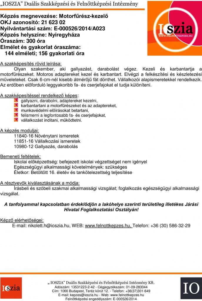 Motorfűrész-kezelő OKJ - Nyíregyháza - felnottkepzes.hu - Felnőttképzés - IOSZIA